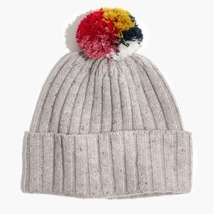 Madewell Rainbow Pom Pom Beanie Gray Holiday